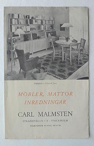 Carl Malmsten. Möbler, Mattor Inredningar.: MALMSTEN, CARL.