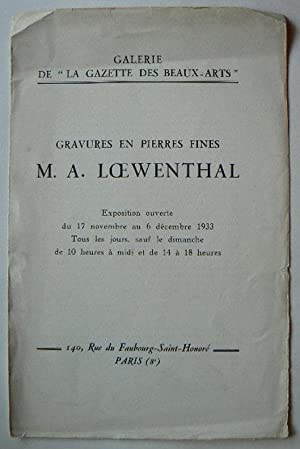 Gravures En Pierres Fines M.A.Loewenthal. Expostion ouverte: JEWELRY.