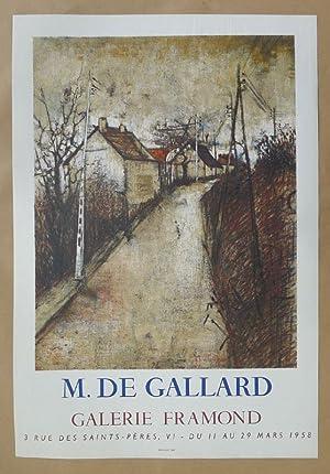 M. de Gallard. Poster. Galerie Framond, Paris 11 au 29 Mars 1958.: DE GALLARD, MICHEL.