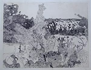 Landscape With Praying Mantis Original etching.