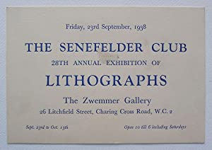 The Senefelder Club, 28th Annual Exhibition of: SENEFELDER CLUB.