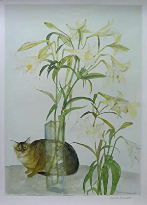 Abyssinian Cat and Lilies  by Elizabeth Blackadder