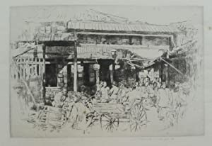 Tea House in China  etching by Mortimer Menpes