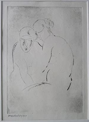 Horace Brodzky etching of two figures.