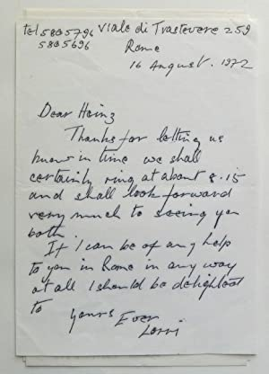 Five signed autograph letters to Henry Roland, founder and partner in the noted London gallery Ro...