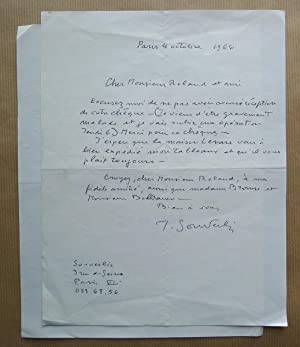 Jean Souverbie. Two autograph signed letters to: SOUVERBIE, JEAN.
