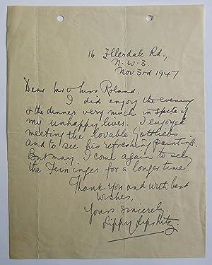 Lippy Lipshitz. An autograph signed letter from: LIPSHITZ, LIPPY.