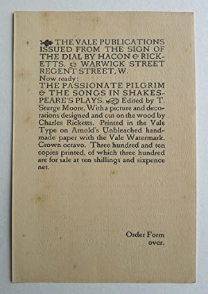Vale Press order form for 'The Passionate Pilgrim & the Songs in Shakespeare's Plays. Single sheet.