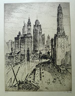 Mather Tower, Chicago  etching by Arthur Cadogan Blunt.