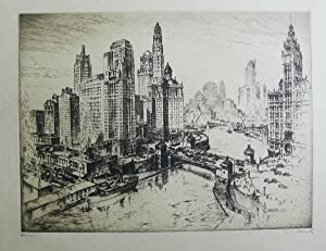 Michigan Avenue Bridge, Chicago  etching by Arthur Cadogan Blunt.