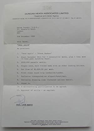 Original contract letter to Derek Jacobi from his agent Paul Lyon-Maris of Duncan Heath Associate...
