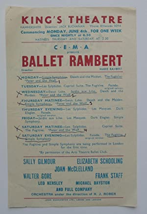 C.E.M.A. presents Ballet Rambert. Commencing Monday June 4th, for one week. King's Theatre, Hamme...