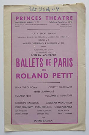 Ballets de Paris de Roland Petit. Programme for a short season 16th February to 12th March 1949. ...