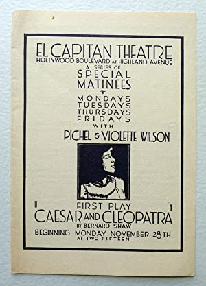 El Capitan Theatre Hollywood Boulevard at Highland Avenue. A Series of Special Matinees. Mondays,...