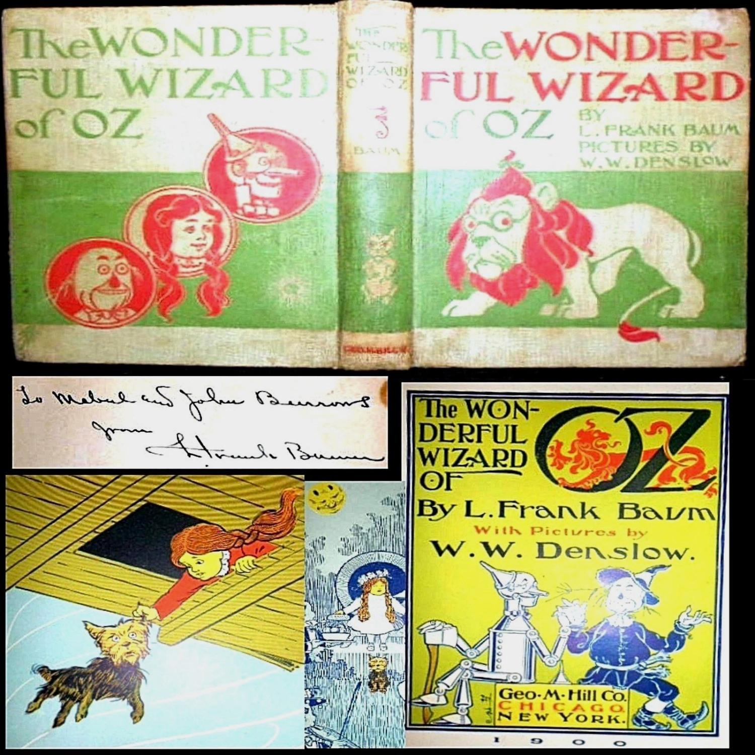 1899 THE WONDERFUL WIZARD OF OZ SIGNED L. FRANK BAUM 1ST EDITION 24 COLOR ILLUSTRATIONS FANTASY CHILDREN'S MOVIE TOTO L. Frank Baum Good Hardcover