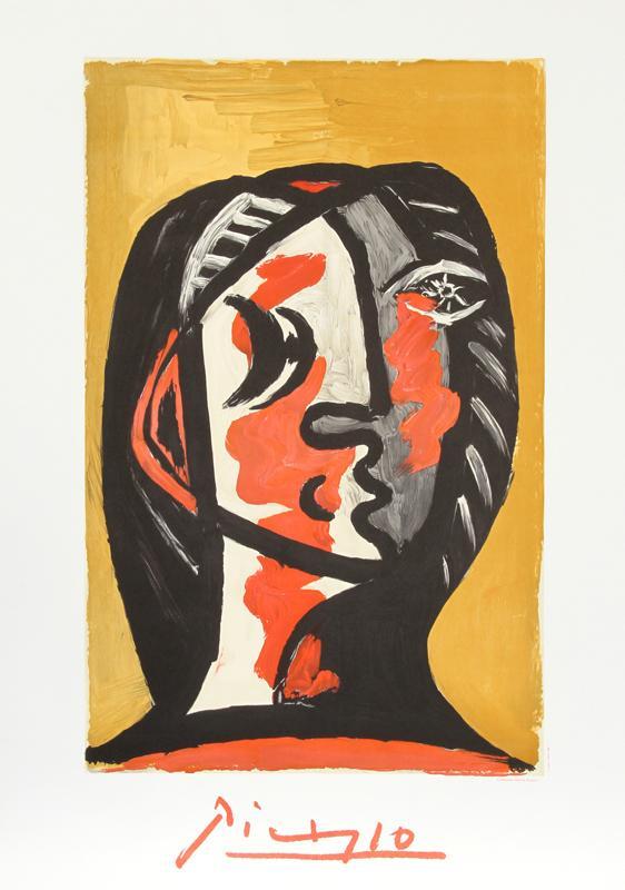 Pablo Picasso, Tete de Femme en Gris et Rouge sur Fond Ochre, Lithograph Fine
