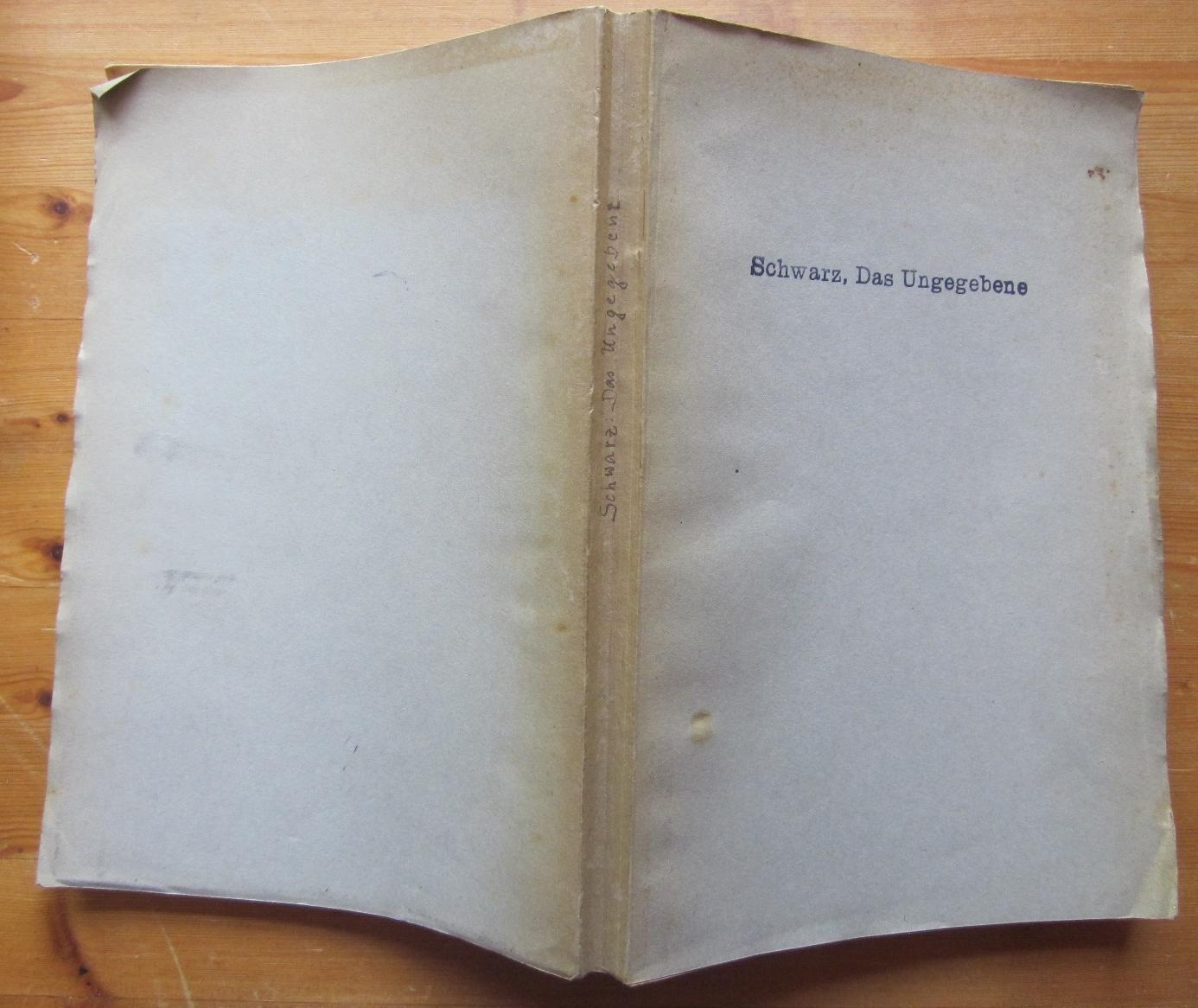 Das Ungegebene. Eine Religions- und Wertphilosophie.: Schwarz, Hermann: