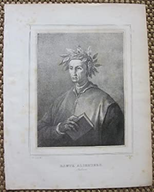 """Dante Alighieri. Lithographie von Antonio Zezon aus: """"Collezione biografica e litografica de&#..."""