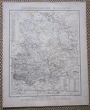 """Grenzkolorierte lithographierte Karte nach Handtke aus """"Sohr-Berghaus: Magedburg.- Regierungsbezirk Magdeburg."""