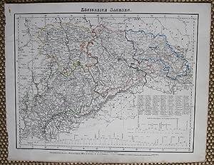 Grenzkolorierte lithographierte Karte von A. Theinert. Aus: Sachsen.- Königreich Sachsen.