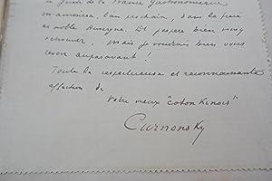 "DEMI-VEUVE - LETTRE AUTOGRAPHE SIGNEE ""Coton kinois"": CURNONSKI (SAILLAND Maurice"