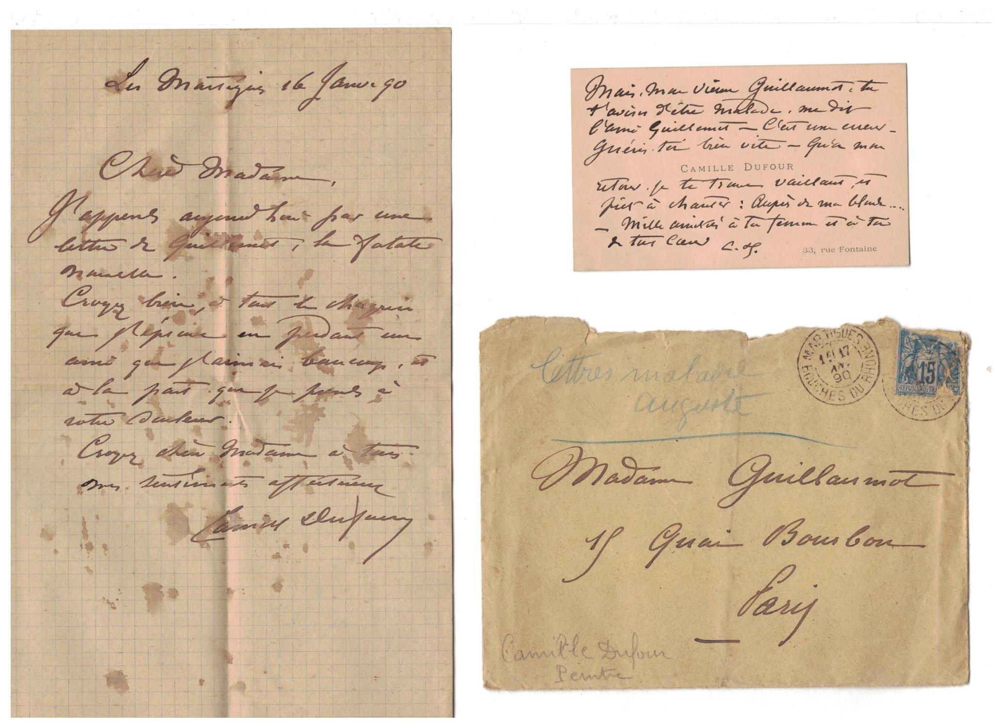 2 Pieces Manuscrites 1 Carte De Visite Manuscrite Adressee Au Peintre Auguste Guillaumot Alors