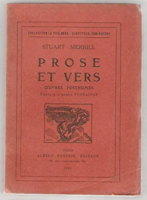 Prose et vers. Oeuvres posthumes. Préface d'André Fontainas.