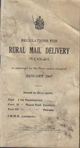 Regulations For Rural Mail Delivery in Canada, as approved by the Postmaster General