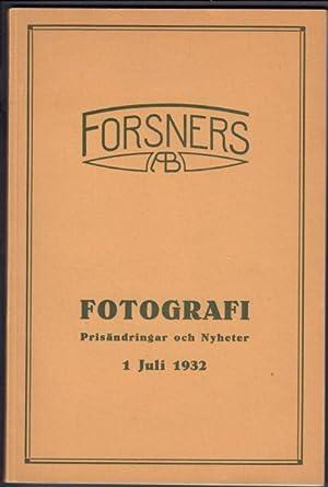 Priskurant I. Fotografi. Apparater - Tillbehör -: Forsners Aktiebolag