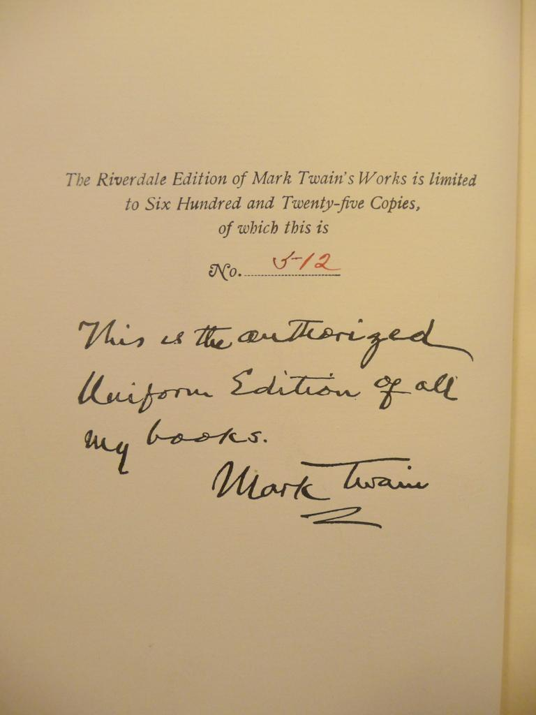 THE WRITINGS OF MARK TWAIN - LIMITED RIVERDALE EDITION (1901) COMPLETE IN 22 VOLUMES: Twain, Mark (...