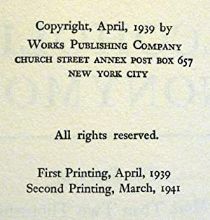 ALCOHOLICS ANONYMOUS FIRST EDITION, SECOND PRINTING: WILSON, Bill