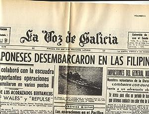 PERIÓDICO LA VOZ DE GALICIA, Nº 19.105. 11-12-1941: JAPÓN EN FILIPINAS.: ...