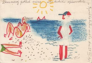 Postcard jointly illustrated and written by Bohumil: Hrabal, Bohumil]