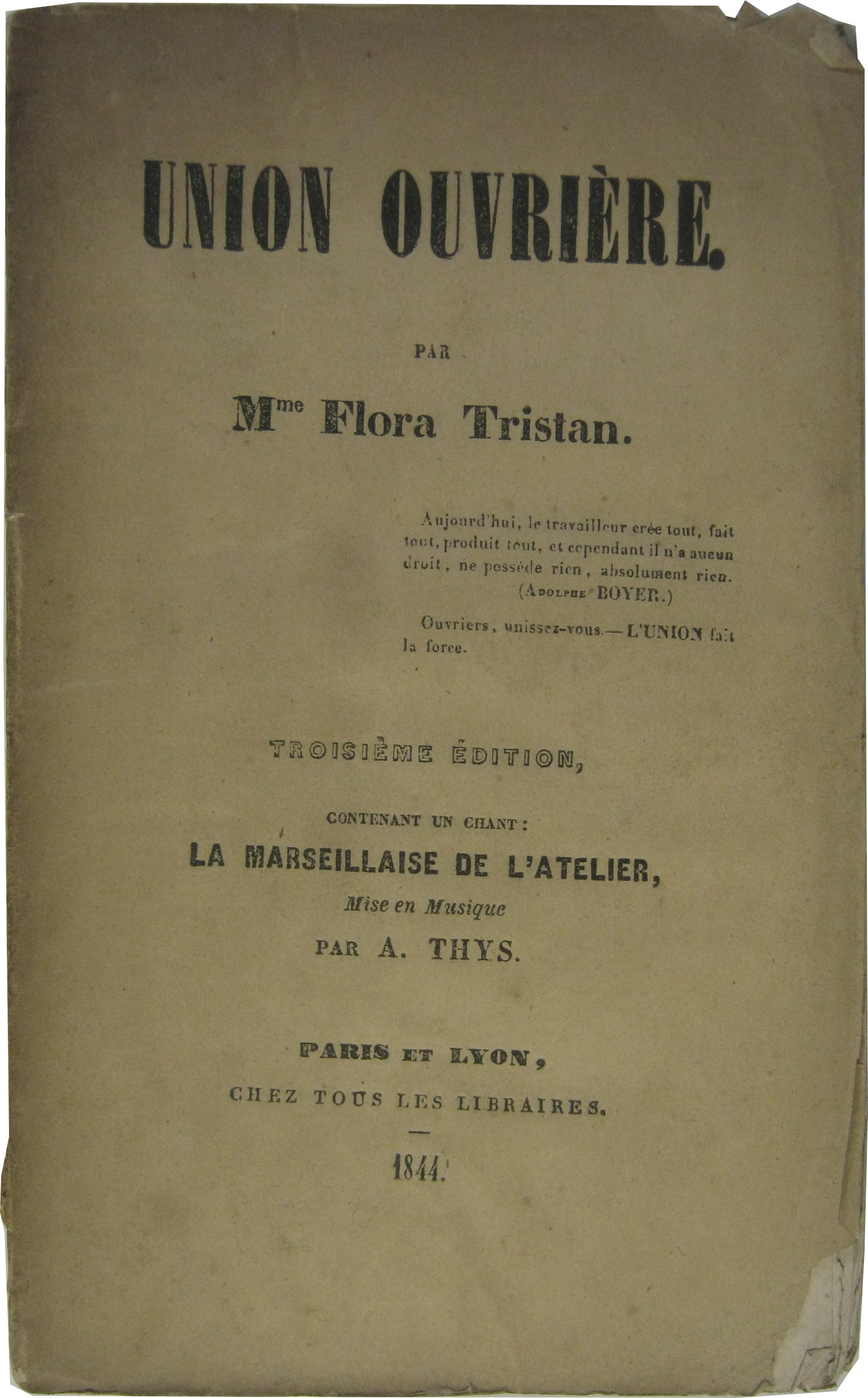 Image result for L'Union ouvrière tristan
