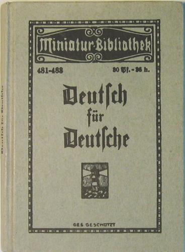 Tarnschrift Deutsch für Deutsche. Herausgegeben im Juni: Schutzverband deutscher Schriftsteller,