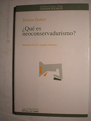 Qué es neoconservadurismo?: Helmut Dubiel