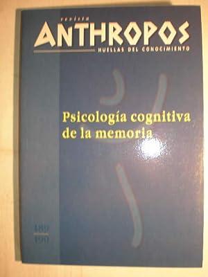 Revista Anthropos Nº 189-190. Psicología cognitiva de la memoria. Memoria experimental ...