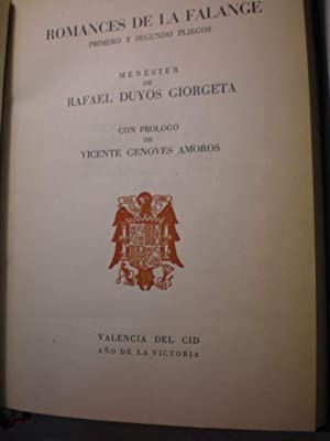 Romances de la Falange. Primero y segundo pliegos: Rafael Duyos Giorgeta