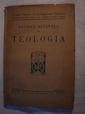 Revista Española de Teología Volumen I Cuaderno: Gregorio R. de