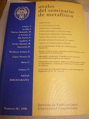 Anales del Seminario de Metafísica Nº 30: Vicente Gómez -
