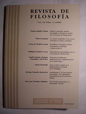 Revista de Filosofía. Vol. 33. Num. 2: Vicente Sanfélix Vidarte