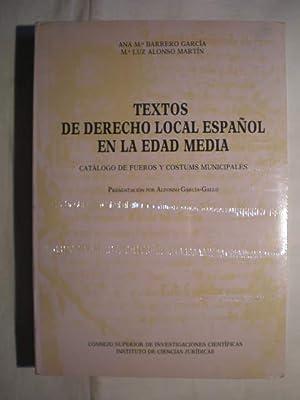 Textos de derecho local español en la: Ana María Barrero