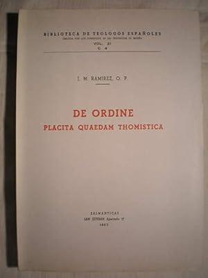 De Ordine Placita quaedam Thomistica.: Jacobus M. Ramírez