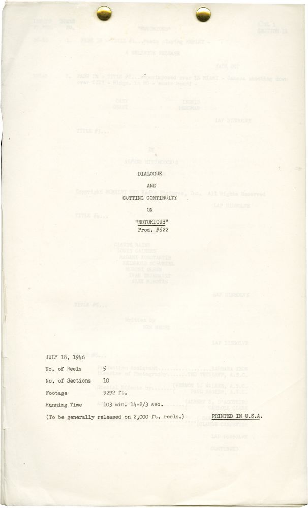 Notorious (Post-production script for the