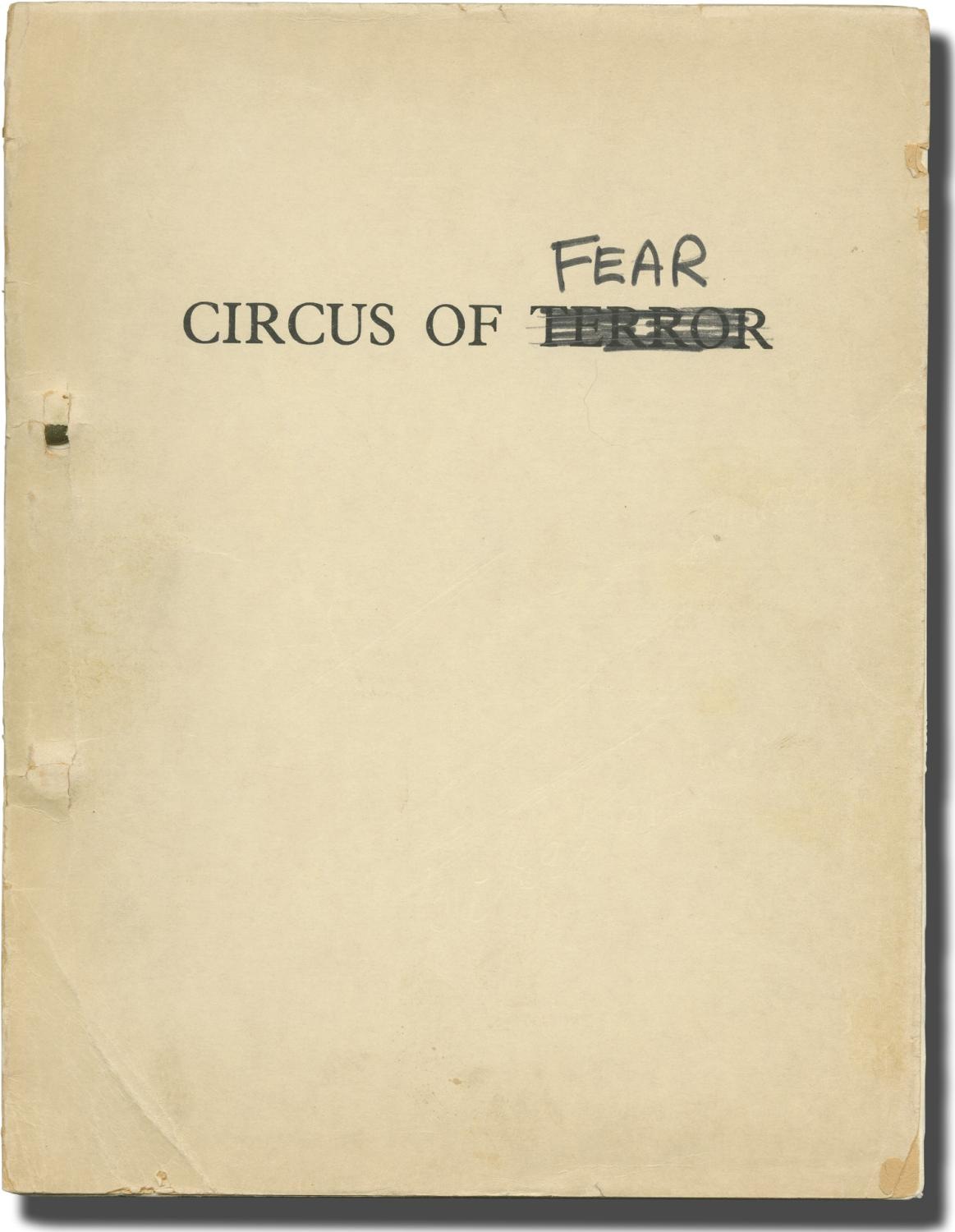 Circus of Fear [Psycho-Circus, Circus of Terror] (Original screenplay for the 1966 UK film): Moxey,...