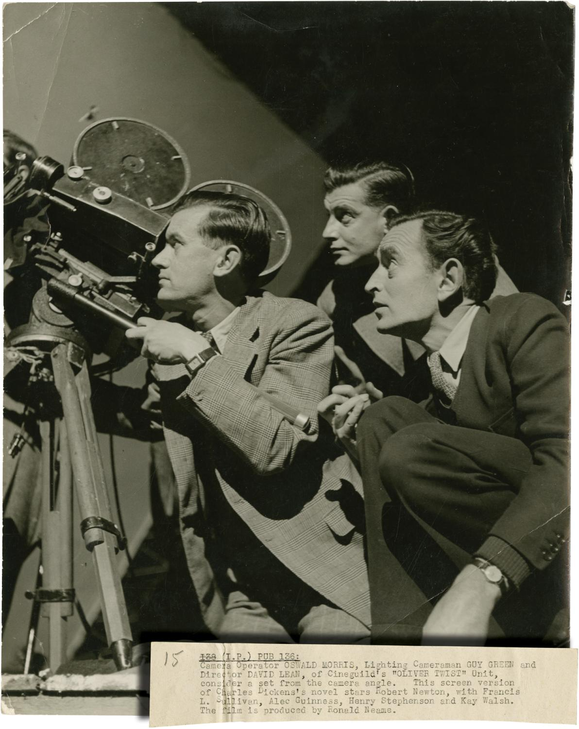 Oliver Twist (Original photograph of David Lean, Oswald Morris, and Guy Green on the set of the ...