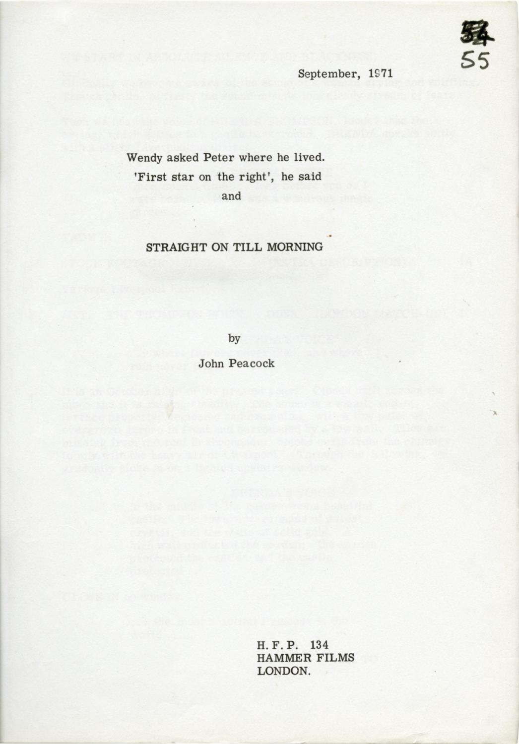 Straight On Till Morning Original Screenplay For The 1972 Film By