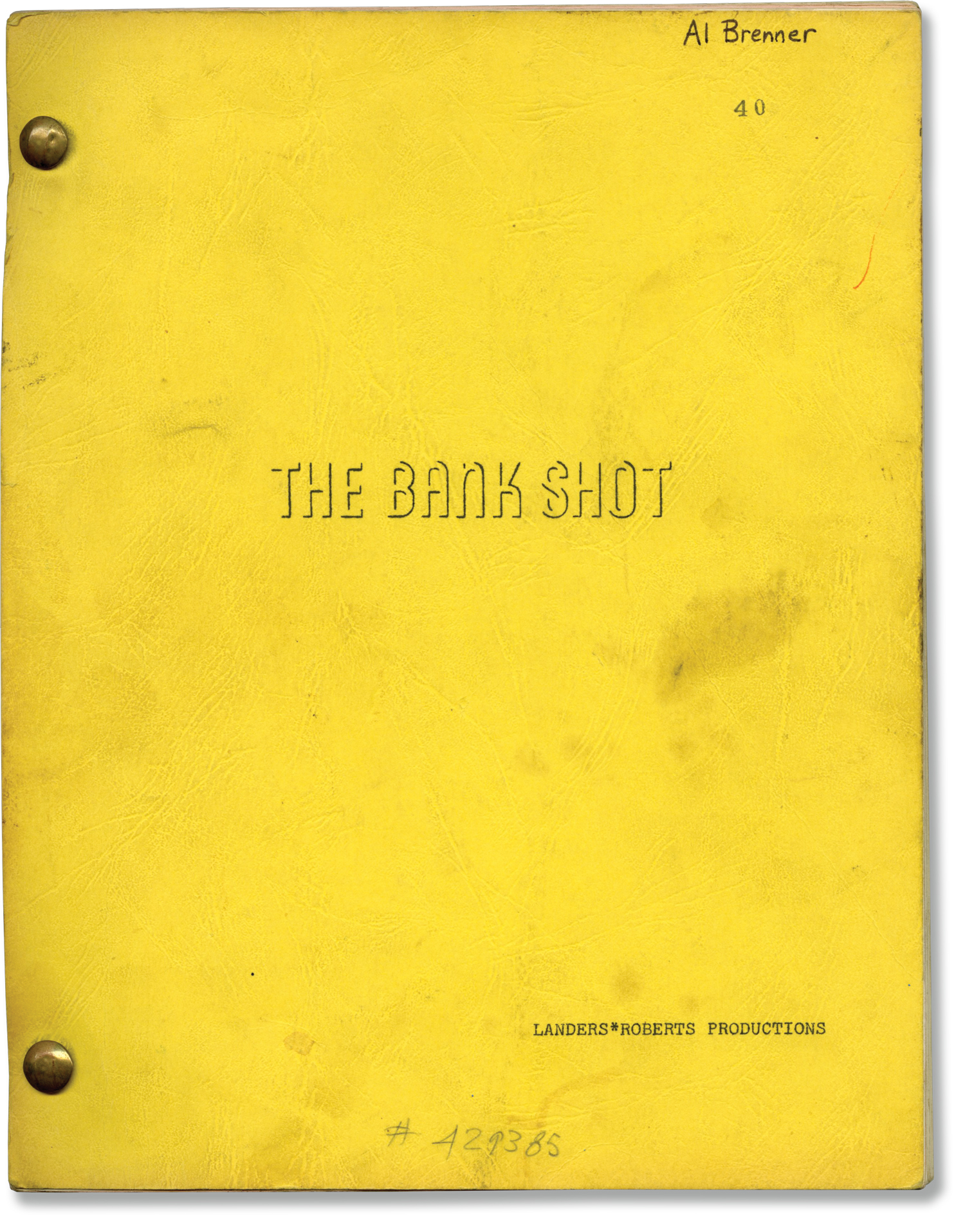 The Bank Shot (Original screenplay for the 1972 film, art director's working copy) Westlake, Donald (novel); Wendell Mayes (screenwriter) Softcover