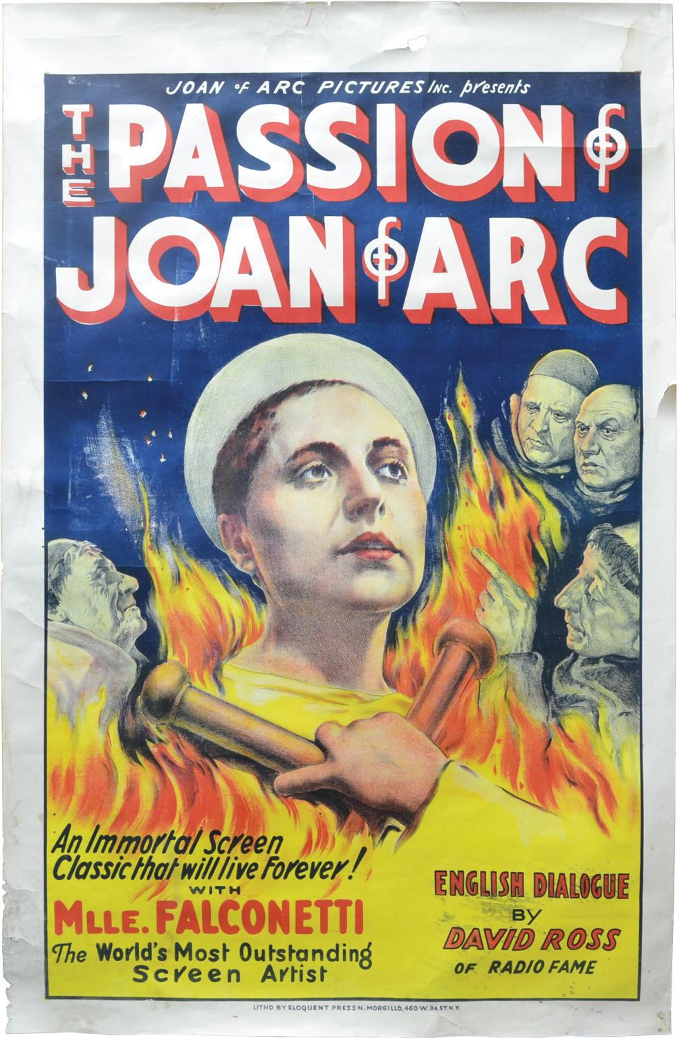 The Passion of Joan of Arc (Original US poster for the 1933 sound reissue of the 1928 film): Dreyer...