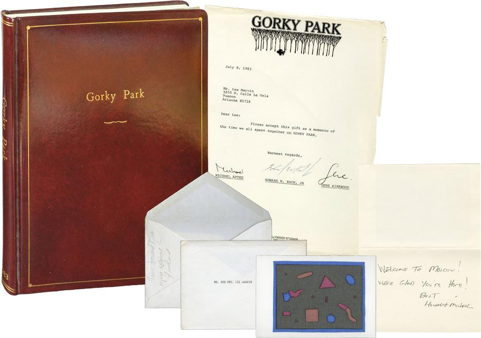 Gorky Park (Original screenplay, actor Lee Marvin's leatherbound presentation copy with associated ephemera) Smith, Martin Cruz (novel); Dennis Potte